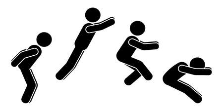 Standing long jump position stick figure sportsman vector icon illustration set. Leap sequence move silhouette on white