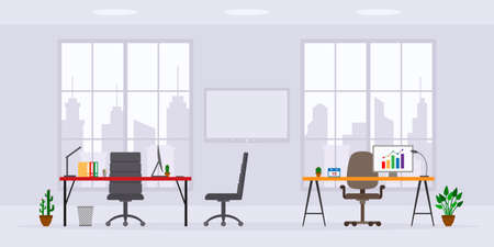 Design of modern empty office work place front view vector illustration. Flat style table, desk, chair, computer, desktop, window isolated on skyscraper background Illustration