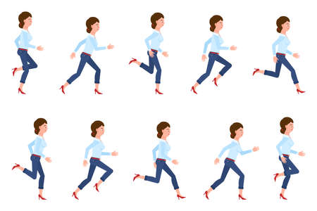 Young, adult woman wearing jeans running sequence poses vector illustration set. Fast moving forward, hurry, rush female person cartoon character on white Illustration