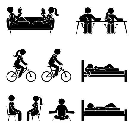Young active stick figure male and female couple reading, writing, riding bicycle, sleeping, sitting, meditating vector illustration pictogram icon set on white background Illustration