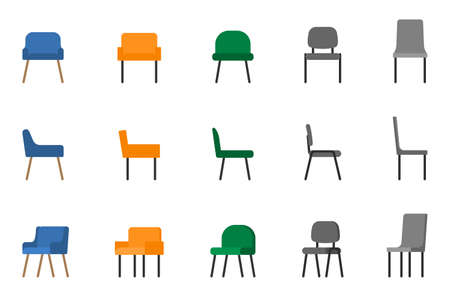 Isolated modern soft fabric office arm chair vector illustration icon set. Front, side view colored seat on white Illustration