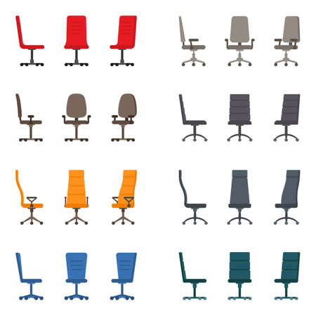 Isolated color modern spinning rolling office chair vector illustration icon set. Front, side view business seat kit on white