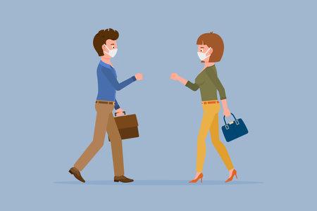 Coronavirus prevention cartoon character man and woman bumping fists, saying hello vector illustration. Safe handshake, keep distance, wear mask to avoid infection set Illusztráció