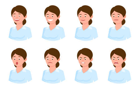 Emotional face cartoon character young office woman side view design vector illustration set. Happy, smiling, upset, surprised, sad, angry, shouting hair lady person flat style concept on white Illustration