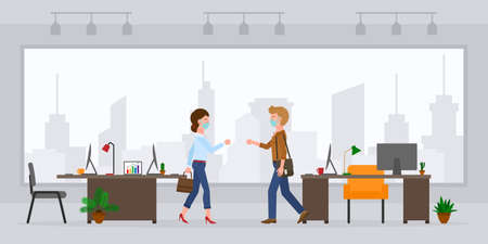 Coronavirus prevention cartoon character man and woman bumping fists, saying hello in modern office room vector set. Safe handshake, keep distance, wear mask at workplace on cityscape background Illustration
