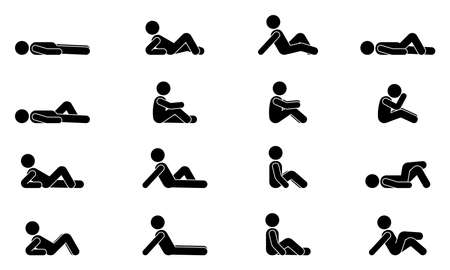 Stick figure male lie down various positions vector illustration icon set. Man person sleeping, laying, sitting on floor, ground side view silhouette pictogram on white