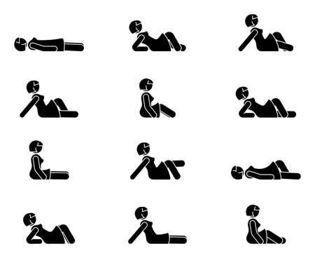 Stick figure female lie down various positions vector illustration icon set. Woman person sleeping, laying, sitting on floor, ground side view silhouette pictogram on white