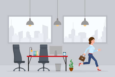 Young adult woman in jeans pants running away from office at the end of working day vector illustration. Fast moving forward, going home cartoon character in workplace interior on cityscape background