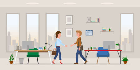 Office cartoon character man and woman hands shaking in modern workplace vector illustration set. Male and female business partners meeting, saying hello in conference room on cityscape background