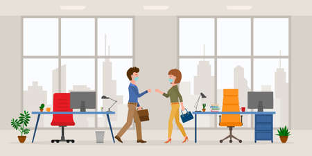 virus prevention cartoon character male and female bumping fists, saying hello in modern office room vector set. Safe handshake, keep distance, wear mask at workplace on cityscape background