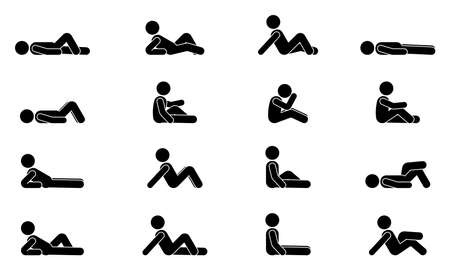 Stick figure man lie down various positions vector illustration icon set. Male person sleeping, laying, sitting on floor, ground side view silhouette pictogram on white Vecteurs