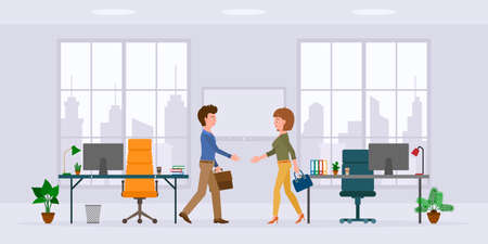 Office cartoon character male and female hands shaking in modern workplace vector illustration set. Man and woman business partners meeting, saying hello in conference room on cityscape background