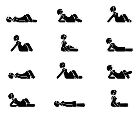 Stick figure woman lie down various positions vector illustration icon set. Female person sleeping, laying, sitting on floor, ground side view silhouette pictogram on white Vecteurs