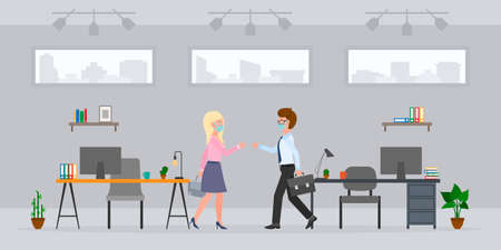 Coronavirus prevention cartoon character guy and blonde lady bumping fists, saying hello, greeting in modern office room vector set. Safe handshake, keep distance, wear mask at workplace interior Illustration