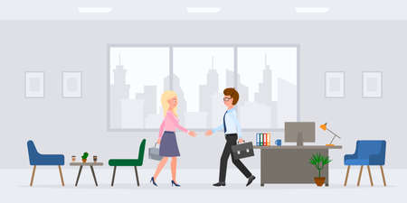 Cartoon character guy and lady hands shaking in modern workplace vector illustration set. Man and woman business partners, meeting client, saying hello in office room on cityscape background