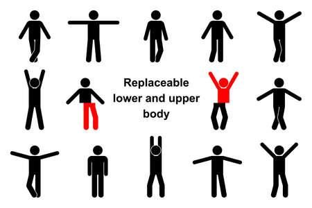 Standing front view stick figure man vector icon illustration set. Raised, wide open hands, crossed legs, replaceable lower and upper body parts creation constructor kit