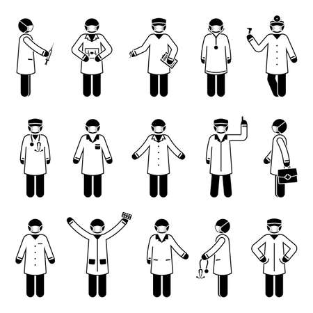 Stick figure doctor man wearing mask vector icon set. Various health worker people postures and poses pictogram illustration concept