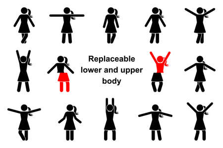 Standing front view stick figure woman vector icon illustration set. Raised, wide open hands, crossed legs, replaceable lower and upper body parts creation constructor kit