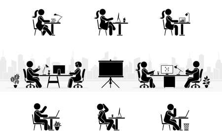 Stick figure office workers sitting at workplace side view silhouette pictogram icon vector set. Stick man and woman employee working at modern conference room on cityscape background Illusztráció