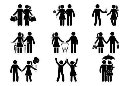 Stick figure couple man, woman, male, female, boy, girl, spending time. Shopping, dating, giving present, riding bike, standing with balloons, dancing, hiding under umbrella icon vector pictogram