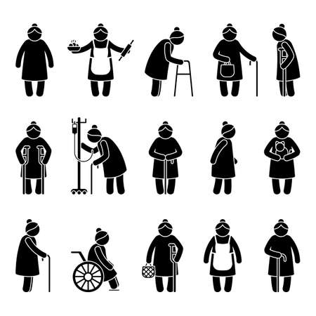 Grandmother stick figure woman walking, standing with walker, cane, crutch, drop counter, cat, sitting on wheelchair vector icon pictogram. Old, aged grandma on white