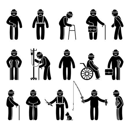 Grandfather stick figure man walking, standing with walker, cane, crutch, drop counter, dog, sitting on wheelchair vector icon pictogram. Old, aged grandpa on white