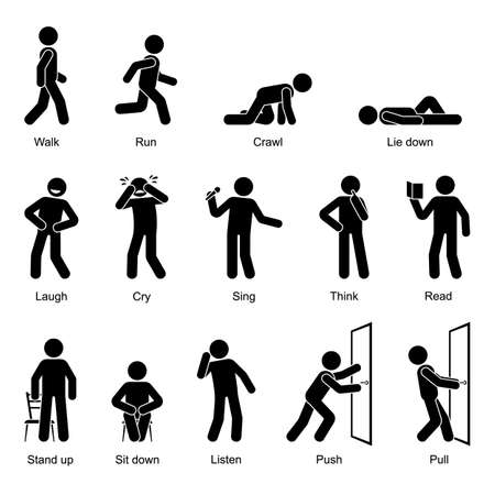 Action verbs stick figure man walking, running, crawling, lying down, laughing, crying, singing, thinking, reading, standing up, sitting down, listening, pushing, pulling vector icon set on white