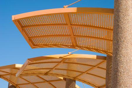 Solar canopy on coast of the mediterranean sea