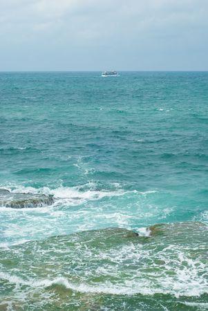 calmness: Coast of Mediterranean sea in Israel Stock Photo