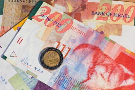 sheqel: banknotes and coin of Israel Stock Photo
