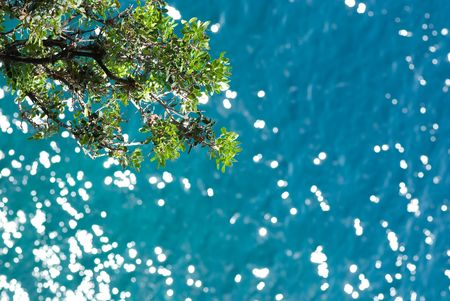 Blue water background on Monte-Carlo coast