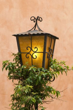 close-up of the old iron lantern Stock Photo