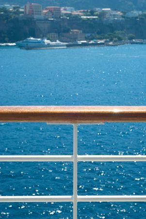 fence on the deck of cruise ship