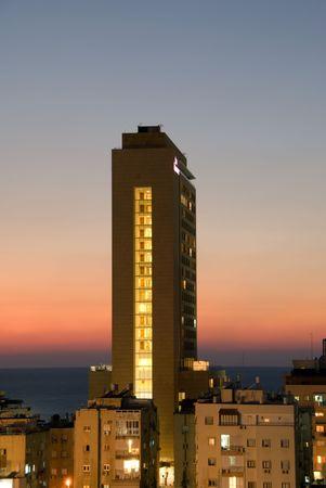 yam israel: night landscape of Bat Yam (Israel)