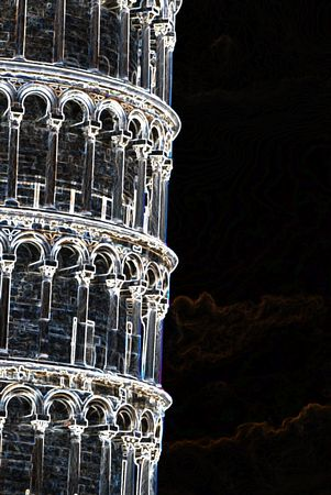 abstract illustration of  Pisa Tower illustration
