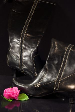 backstitch: close-up of  ladys black boot