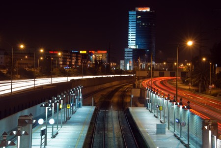 Night landscape of Tel Aviv. Railway station. Stock Photo - 4030557