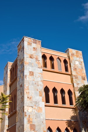 jewry: building of modern Synagogue over blue sky