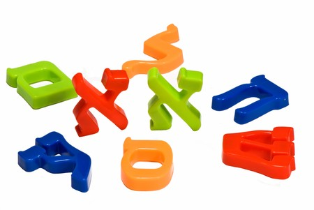 hebrew letters: Plastic characters of Hebrew alphabet
