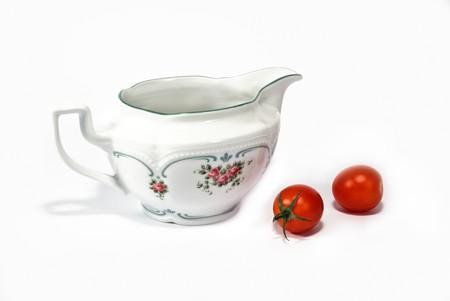 faience: faience sauce boat or milk jug