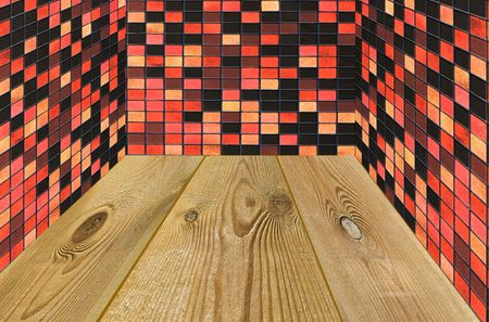 architectonic: room decorated by mosaic and wooden floor Stock Photo