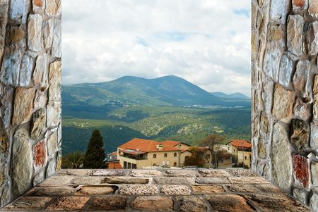view of mountain Miron from the window Stock Photo