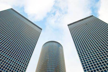 azrieli center: Skyscrapers over a sky background Stock Photo
