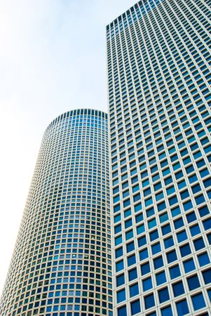 azrieli tower: Skyscrapers over a sky background Stock Photo