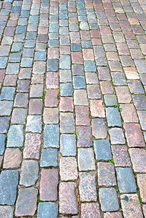 Closeup  of a cobbled road  photo