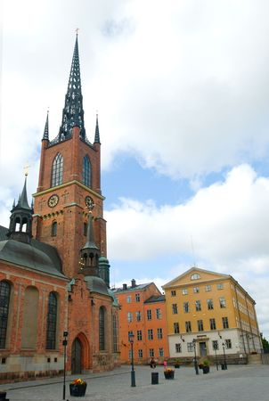 view of  stockholm street with cathedral Stock Photo - 5432408