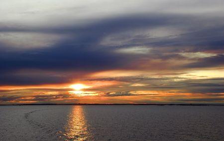 sunset at coast of baltic sea  Stock Photo