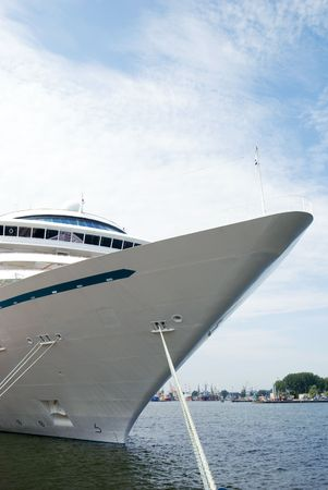 a big ship: close up of the nose of a big ship