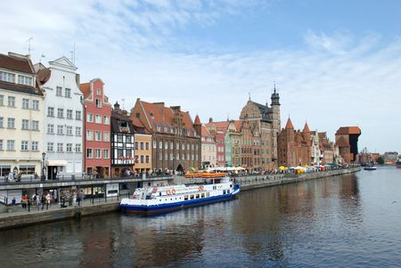 view of embankment in Gdansk. Poland.