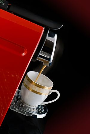 Espresso coffee machine over black background Stock Photo - 5949499